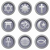 World religion icons on vector button set
