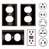 Black electrical outlets and faceplates