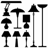Lamps and indoor lighting in silhouette