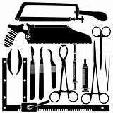 Surgical tools in vector silhouette