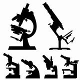 Microscopes in vector silhouette