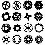 Gears in vector silhouette