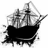 Grunge pirate ship