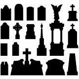 Tombstones and grave monuments in vector