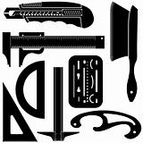 Drafting tools in vector silhouette