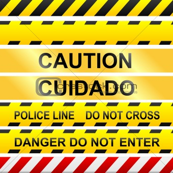 Caution, danger, and police tape