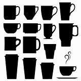 Coffee and tea cups in vector silhouette
