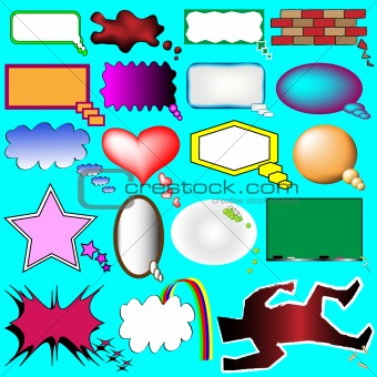 Cartoon thought and speech bubbles