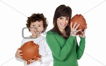 Little boy and pretty teen with moneybox
