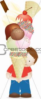 boy and huge icecream