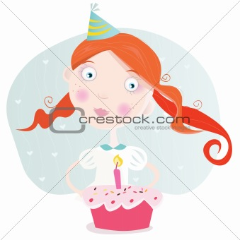 Small girl with cake celebrating birthday