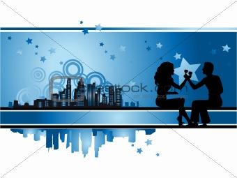 Cityscape, urban frame, couple silhouette