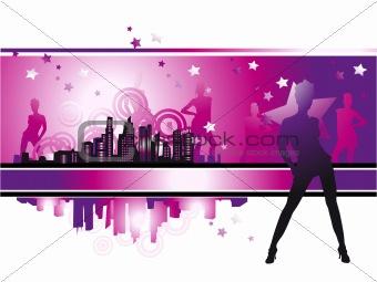 Cityscape, urban frame, fashion girls, night life