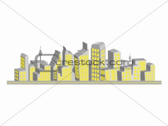 Cityscape, silhouettes of houses