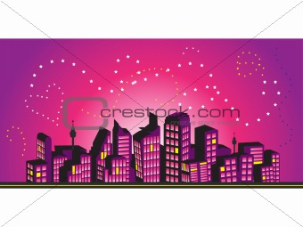 Cityscape frame, silhouettes of houses