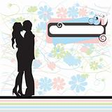 Couple, black silhouette, valentine card, retro style