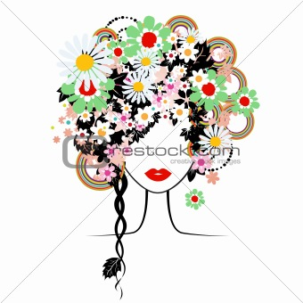 Face woman, floral hairstyle