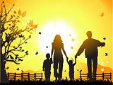 Happy family walks on nature, sunset