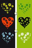 Floral background, shape of heart