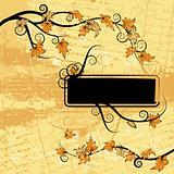 Grunge paper, foliage, frame