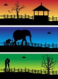 Nature banners, animals, peoples
