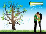 Tree silhouette, couple, spring