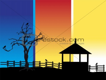 Old tree, house, nature silhouette