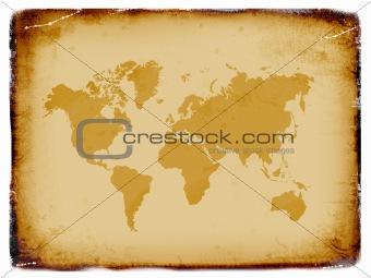Ancient world map, grunge background