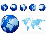 Global icons and map blue and light blue
