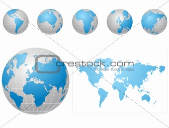 Global icons and map blue and gray