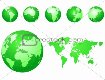 Global icons and map green