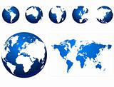 Global icons and map blue and white
