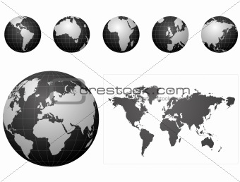 Global icons and map black