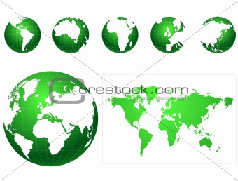 Global icons and map green and white