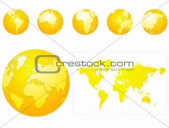 Global icons and map blue and gray gold or yellow