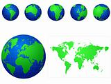 Global icons and map blue and green