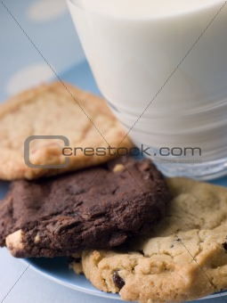 Three Cookies On A Plate With A Glass Of Milk