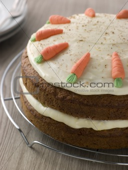 American Carrot Cake On A Cooling Rack
