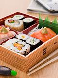 Sushi And Sashimi In A Take Away Bento Box