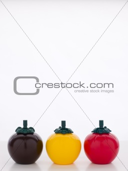 BBQ, Mustard And Ketchup Sauce Bottles, Three Tomato Shaped Sauc