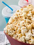 Bucket Of Popcorn With Soft Drinks And Cinema Tickets
