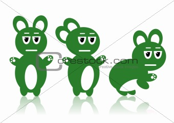 Three green rabbits - Vector image