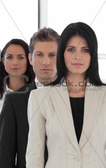 Beautiful young businesspeople in a row