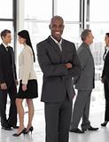 Smiling ethnic business leader