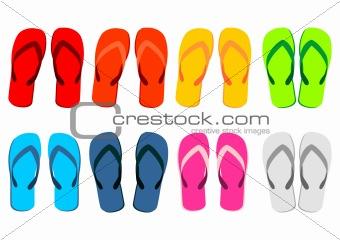 Beach sandals over white