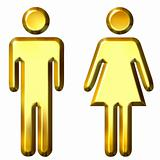 3D Golden Man and Woman Silhouettes