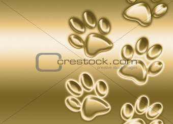 abstract golden paw prints