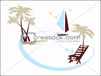 beach with tree and ship illustration