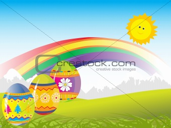 three coloured eggs with nature background