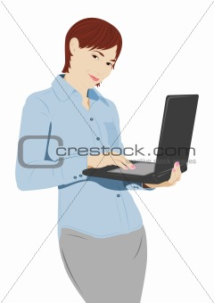 Businesswoman with the laptop